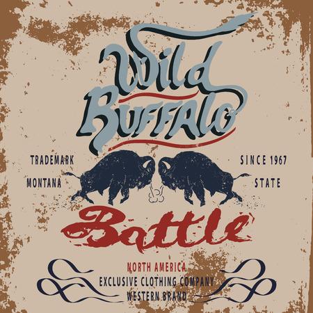 buffalo: Vintage label of  the wild buffalo .Grunge effect Illustration