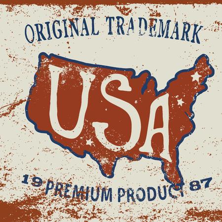 effect: Vintage label of  the USA map.Grunge effect Illustration