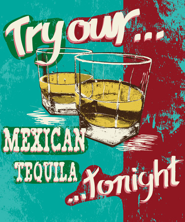 affiche: Vintage poster of two stemware with tequila.Grunge effect.Shabby background Illustration