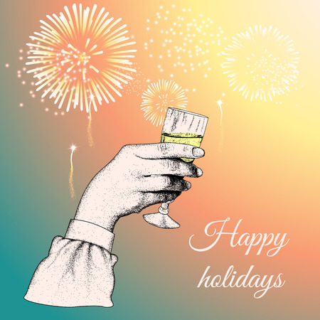 tipple: Hand holding a glass of tipple.Fireworks exploding in the background.Vector illustration