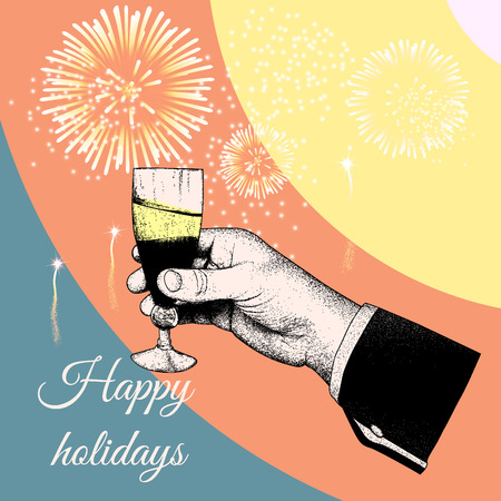 bourbon whisky: Hand holding a glass of tipple.Fireworks exploding in the background.Vector illustration