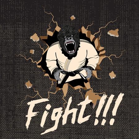 hit: the judoka-gorilla hit a wall.Cartoon style.Vector illustration