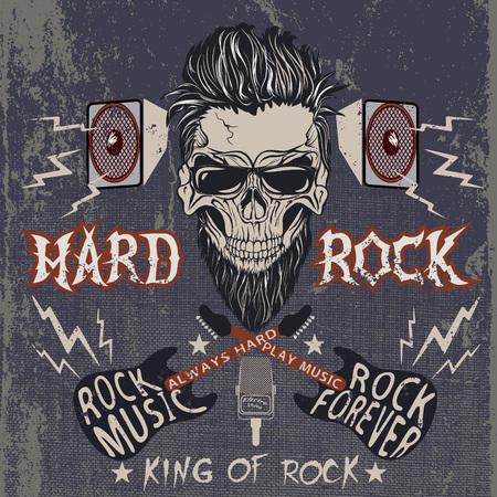 Vintage label met de schedel, tekst -Hard Rock, elektrische gitaren, luidsprekers .Grunge effect Stock Illustratie