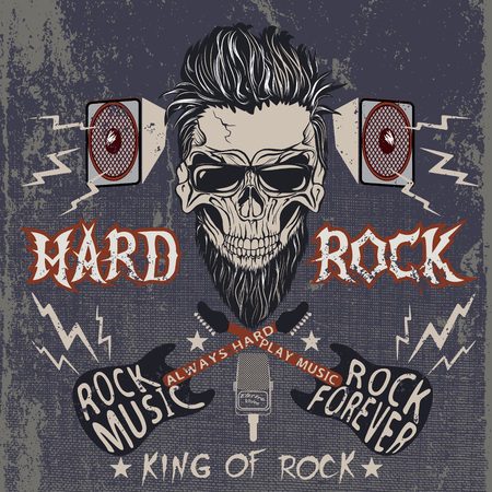 hard: Vintage label with skull,text -Hard Rock,electric guitars,loudspeakers .Grunge effect Illustration