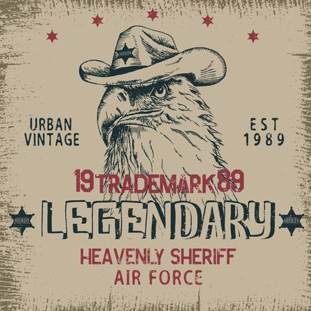 Vintage label with eagle-sheriff .Grunge effect.Textile design