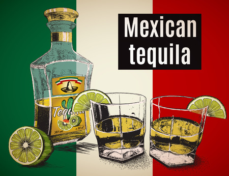 booze: Two stemware of  tequila with bootle Background is a Mexican flag.Vector illustration