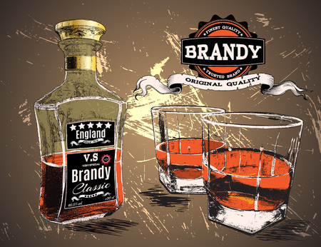 brandy: Brandy was pour in two glasses with bottle on shabby background