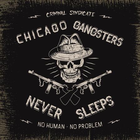 seal gun: Vintage label with gangster .Grunge effect.Textile design Illustration