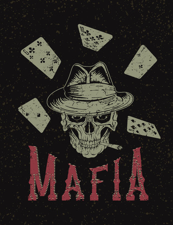 hoodlum: Vintage label with gangster .Grunge effect.Typography design for t-shirts
