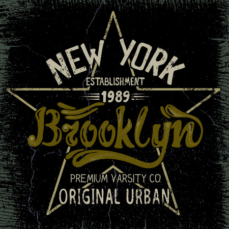 brooklyn: Vintage label with Brooklyn City design .Grunge effect.Typography design for t-shirts Illustration