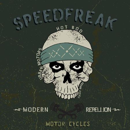 forcer: Vintage label with skull  .Grunge effect.Typography design for t-shirts Illustration