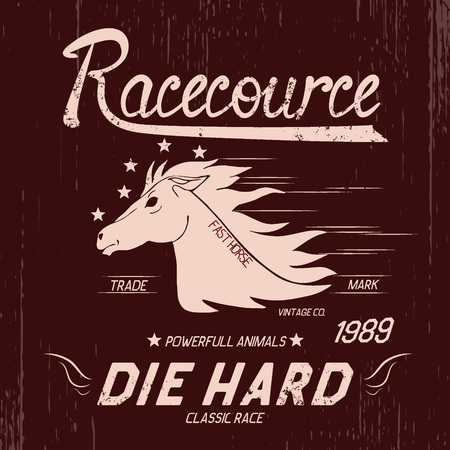 tally: Vintage label with horse .Typography design for t-shirts Illustration