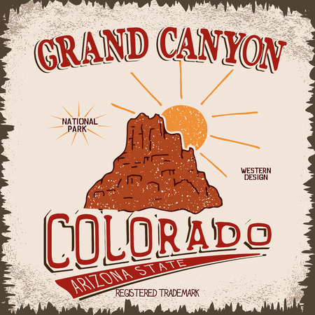 Vintage label with canyon and sun.Grunge effect.Typography design for t-shirts