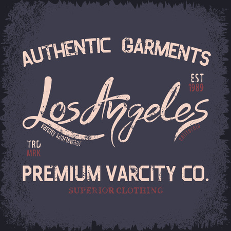 los: Vintage trademark with Los Angeles City text .Grunge effect.Typography design for t-shirts