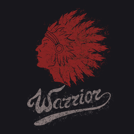 red indian: Vintage label with Red Indian .Grunge effect.Typography design for t-shirts
