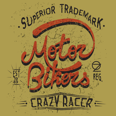 motor: Vintage trademark with Motor Bikers text .Grunge effect.Typography design for t-shirts