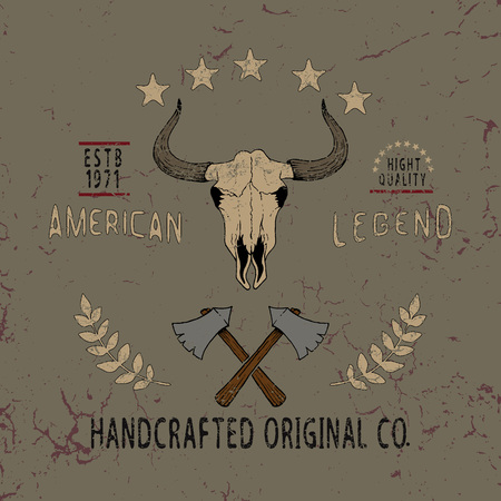 docket: Vintage label with skull of bull .Typography design for t-shirts