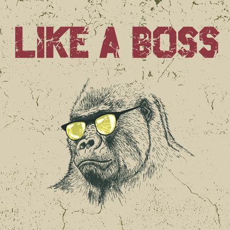 gorilla: Urban label. Gorilla in the yellow sunglasses .Grunge effect.Typography design for t-shirts