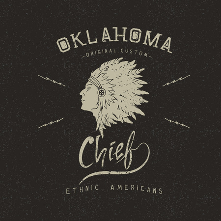 Vintage trademark with indian chief .Grunge effect.Typography design for t-shirts