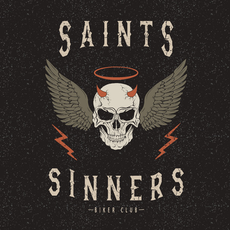 sinner: Vintage trademark with deaths head .Grunge effect.Typography design for t-shirts