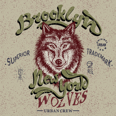 docket: Vintage trademark with wolf .Grunge effect.Typography design for t-shirts Illustration