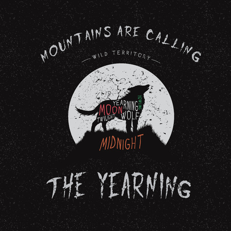yearning: Vintage label.Wolf howling at the moon.Typography design for t-shirts