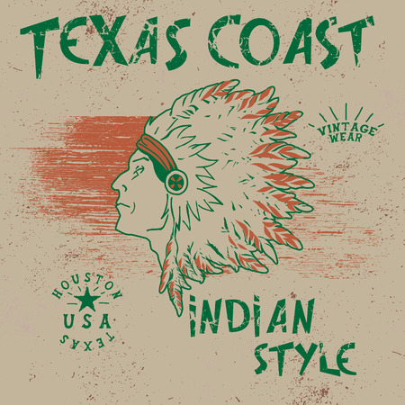 redskin: Vintage label with indian chief .Grunge effect.Typography design for t-shirts