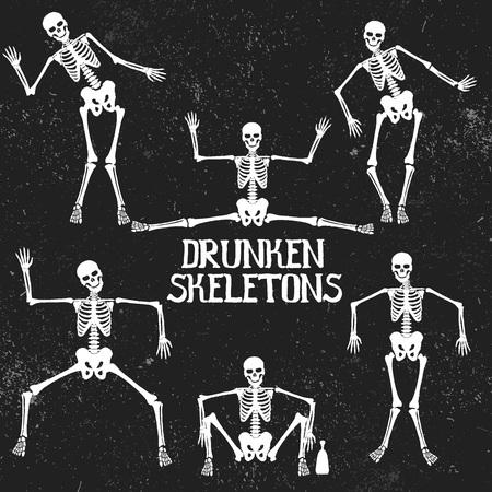 tipsy: Collection of drunken skeletons in different poses. .Typography design Illustration