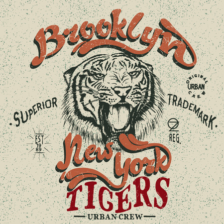 Vintage trademark with tiger .Grunge effect.Typography design for t-shirts