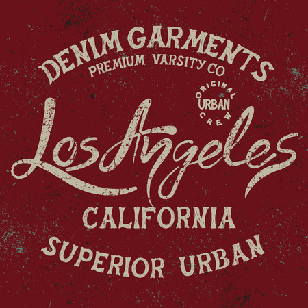 tally: Vintage trademark with Los Angeles City text .Grunge effect.Typography design for t-shirts