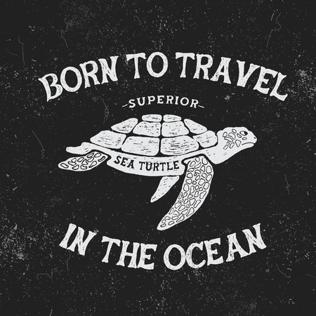 Vintage label with turtle.Vintage style.Typography design for t-shirts