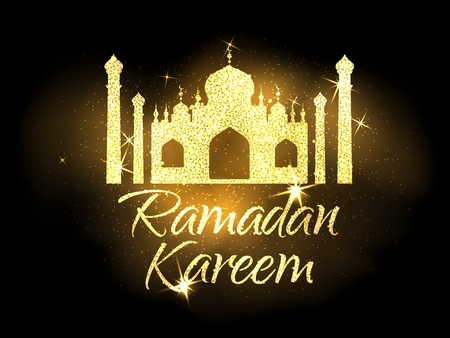 place of worship: Ramadan Kareem vector illustration.Gold text and mosque.Muslim holy month.Design for greeting cards and posters