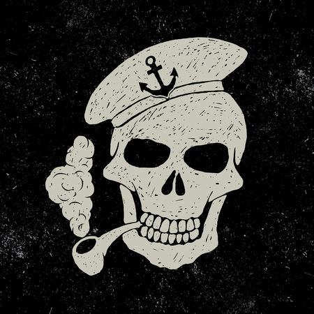 flatfoot: Skull-sailor with pipe.Vector illustration.Typography design for t-shirts Illustration