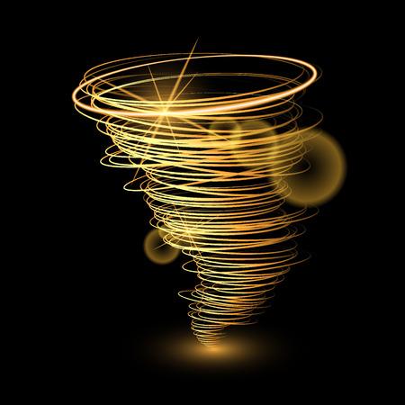 Zusammenfassung Gold Tornado auf schwarzem background.Vector Illustration Standard-Bild - 58460743
