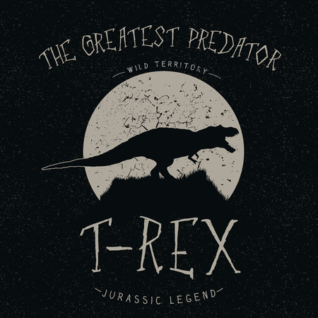 tyrannosaur: Vintage label.T-Rex growls at the moon.Typography design for t-shirts Illustration
