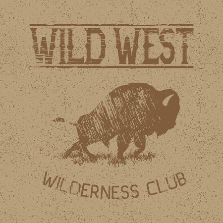 Zachodnia vintage etykieta z projektu bison.Typography na t-shirty