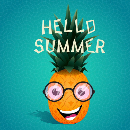 sunglasses cartoon: Funny cartoon pineapple in the sunglasses.Fruit character.Hello summer. Vector illustration