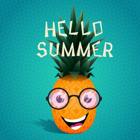 diet cartoon: Funny cartoon pineapple in the sunglasses.Fruit character.Hello summer. Vector illustration