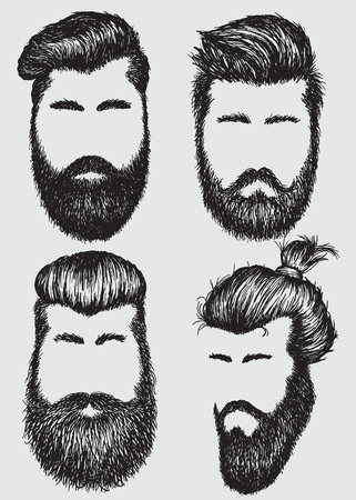 dapper: Collection of  hipster hairstyles and beards.Fashion style Illustration