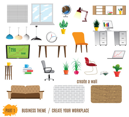 office paper: Collection of office furniture.Flat style. Create your workplace. Vector elements