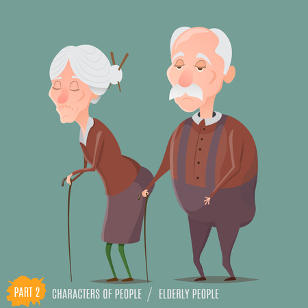 grandad: Elderly woman and man walking with sticks.Grandmother and grandfather.Vector characters