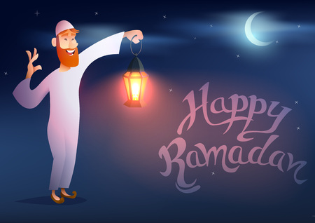 sky lantern: Arabic man keeps illuminated colorful ramadan lantern against blue night sky with an crescent moon.Muslim holy month.Design for greeting cards and posters.Cartoon style.Vector illustration Illustration