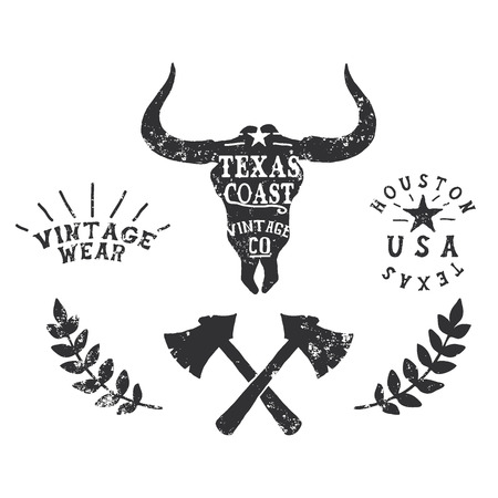 bull head: Vintage label with silhouette of bull head.Texas Coast.Typography western design for t-shirts.