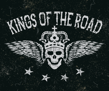 skull with crown: Vintage label. Skull with wings and crown .King of the road.Typography design for t-shirts. illustration