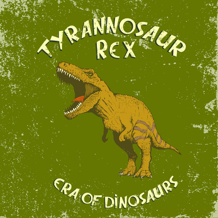 Angry colorful tyrannosaur Rex.Vintage label with dinosaur.illustration 일러스트