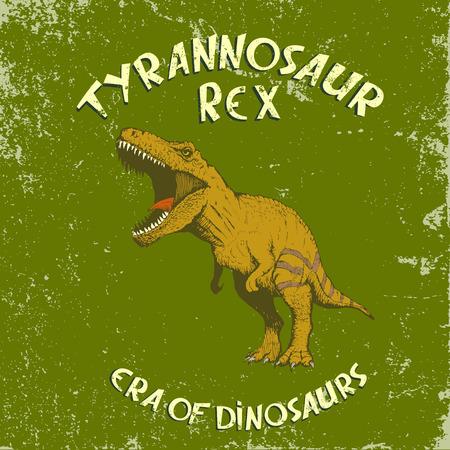 tyrannosaur: Angry colorful tyrannosaur Rex.Vintage label with dinosaur.illustration Illustration