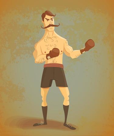 Vintage boxer stands in rack.Old retro effect. Cartoon illustration