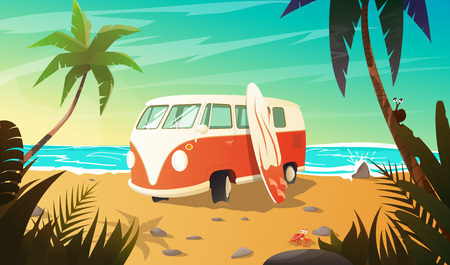 old bus: Old bus on the beach with surfboard. Summer vacation. background Illustration