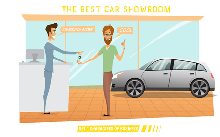 expensive car: Businessman was buy expensive car in auto-salon.Cartoon vector illustration