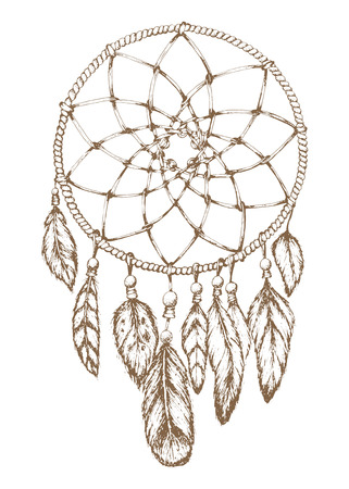 outs: Dream catcher.Hand drawn style was made manually.Vector element Illustration